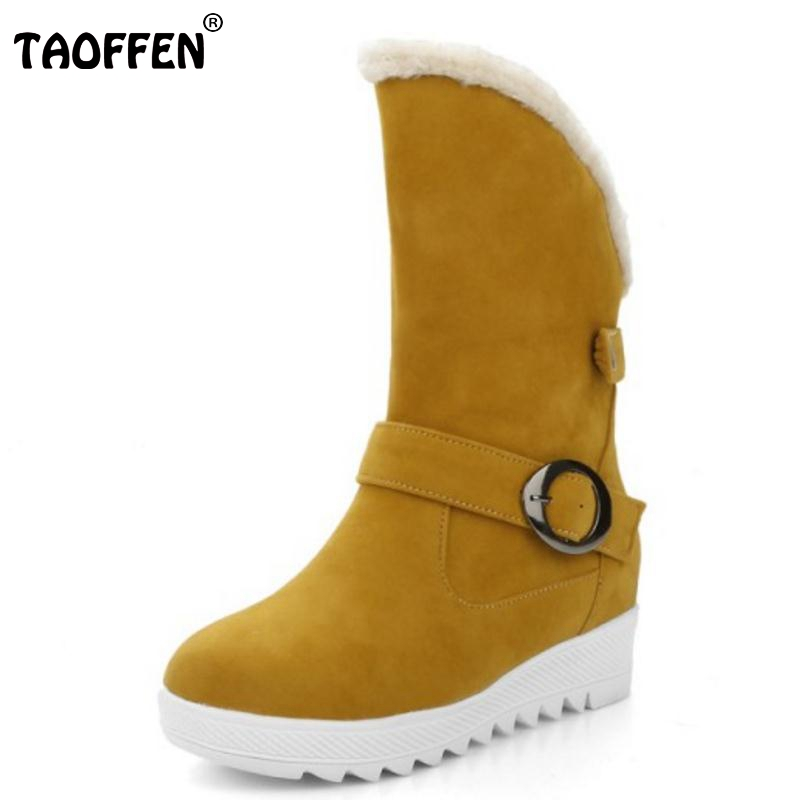 TAOFFEN Women Round Toe Snow Boots Woman High Increasing Buckle Mid Calf Boot Warm Winter Shoes Footwear Botas Mujer Size34-43