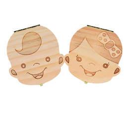 Зуб Коробка Portugue/Испанский/английский/французский/русский/итальянский деревянный зуб Коробка органайзер сохранить молочные зубы
