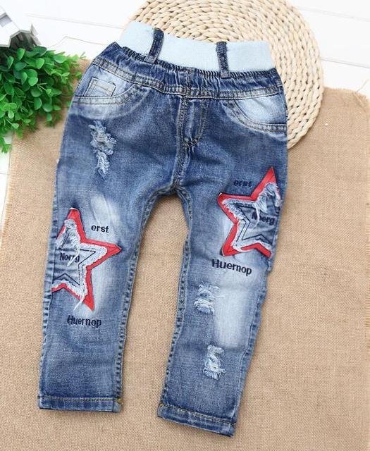 2016 хан издание нового мальчика детская одежда джинсы брюки отверстие в весенней и осенней модели