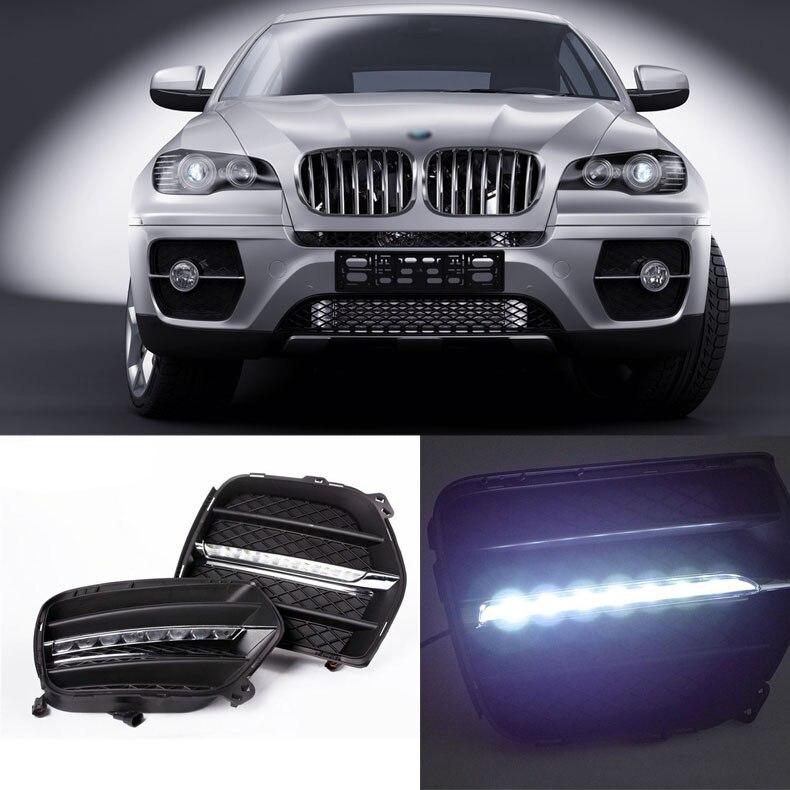 Ownsun Brand New Atualizado LED de Luzes Diurnas DRL Com Preto Tampa da Luz de Nevoeiro Para BMW X6 2011-2012
