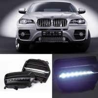 Ownsun nuevo actualizado luces diurnas de LED DRL negro con luz de niebla para cubierta BMW X6 2011-2012