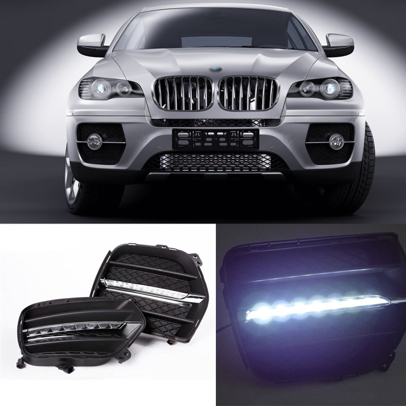 Brand New Updated LED Daytime Running Lights DRL With Black Fog Light Cover For BMW X6 2011-2012 brand new updated led daytime running lights drl with black foglight cover for mitsubishi lancer ex