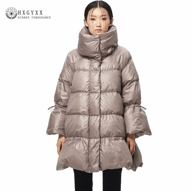 decc589dafe2a 2019 Winter Puffer Jacket Woman Clothing Stand Collar Slim White Duck Down  Parka Goose Feather Coat Warm A-line Outerwear Okd451