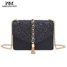 New Brand Designer Chain Tassel Women Shoulder Bags Luxury Leather Sequin Messenger Bag Envelope Crossbody Bag With Logo Handbag