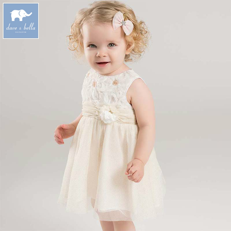 Dave bella fashion baby girl dress children birthday party wedding summer clothing infant toddler sleeveless dress