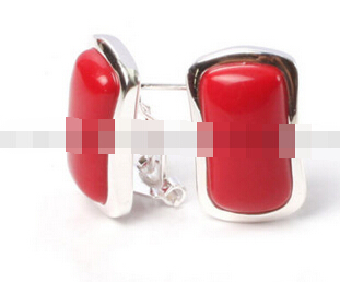ry00500 14x22mm rectangle beads low silver stud earrings fashion jewelery 5.6