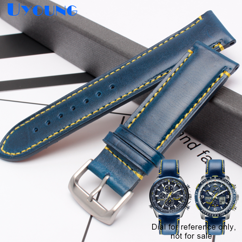Genuine Leather Bracelet 23mm Watch Strap For AT8020 JY8078 Mens Watches Band Blue Color Watchstrap Stainless Steel Buckle