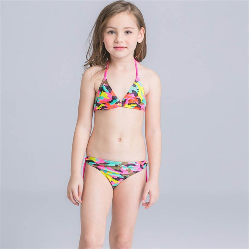45666262e0 wholesale drop shipping 2Pcs Toddler Girls Camouflage Swimwear Bathing  Bikini Brief Set Outfits Swimsuit Fashion S3JUN7-in Swimwear from Mother    Kids on ...