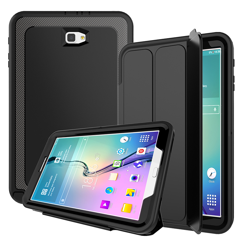 For Samsung Galaxy Tab A 10.1 2016 T580 T585 Case Kids Safe Full Body Shockproof Heavy Duty Armor Hard Case Samrt Cover+Film+Pen tire style tough rugged dual layer hybrid hard kickstand duty armor case for samsung galaxy tab a 10 1 2016 t580 tablet cover