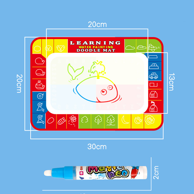 30 x 20CM Kids Magic Pen Doodle Painting Picture Water Drawing Play Mat in Drawing Toys Gift Educational Toy Add Water with Pen