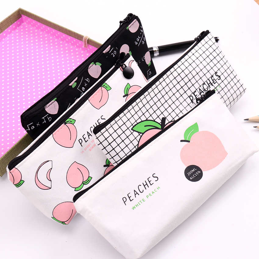 1PC New Canvas Fruit Peach Pencil Case School Pencil Cases For Girl Stationery Canvas Pencil Bag Estojo Escolar School Supplies