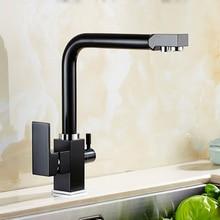 Бесплатная Доставка латунный материал 360 градусов черный кухонный кран раковина кран с waterpurifier роскошные прямые пить смеситель