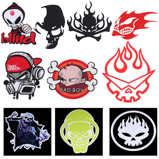 1 pcs vinyl devil skull car door window stickers decals auto bumper stickers car styling
