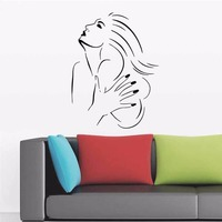 Salon Beauty Lady Wall Decal Vinyl Sticker Decor Hair Nail Shop Art Wallpaper 57X43CM