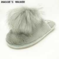 Maggie S Walker Women Fashion Plush Slippers Candy Colored Warm Winter Indoors Flip Flops Cute Pompon