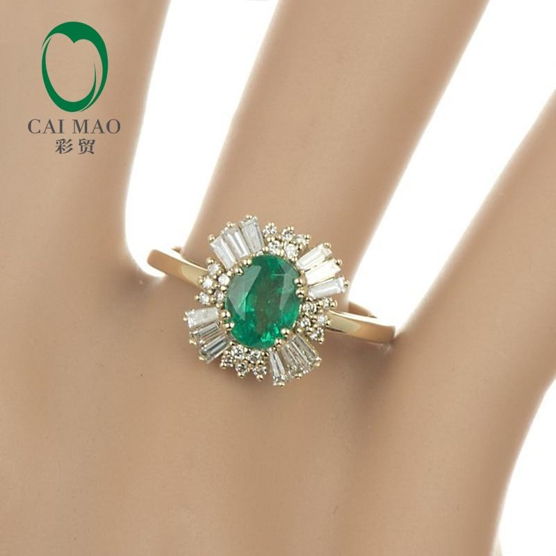 Caimao 14kt Yellow Gold Natural 1.21ct Emerald Round dan Baguette - Perhiasan bagus - Foto 3