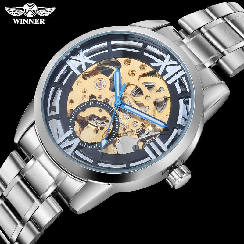 13b8df9190e VENCEDOR casual homens relógios mecânicos 2016 famosos homens marca de  relógios em aço inoxidável banda esqueleto mostradores de ouro relogio  masculino