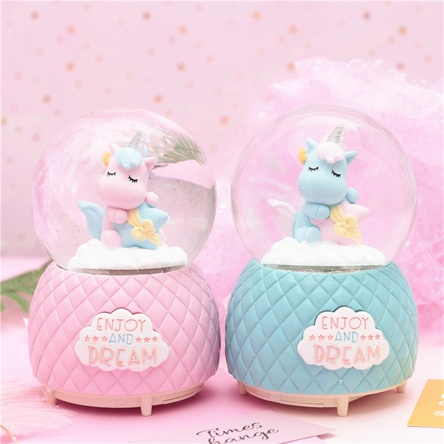 Unicorn Lovers Crystal Ball Creative Music Box With Snowflake Home