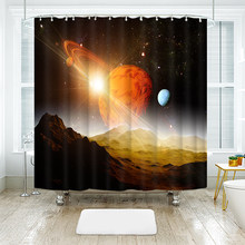 Space Scene 3D Colorful Planet Shower Curtains Waterproof Thickened Bath for Bathroom Customizable