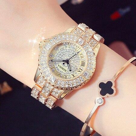 Stylish Sparkling Rhinestone Golden Dress Watches Women Luxury Fashion Diamond Crystal Watches Ladies Shinning Wrist Watches New diamond stylish watches for girls