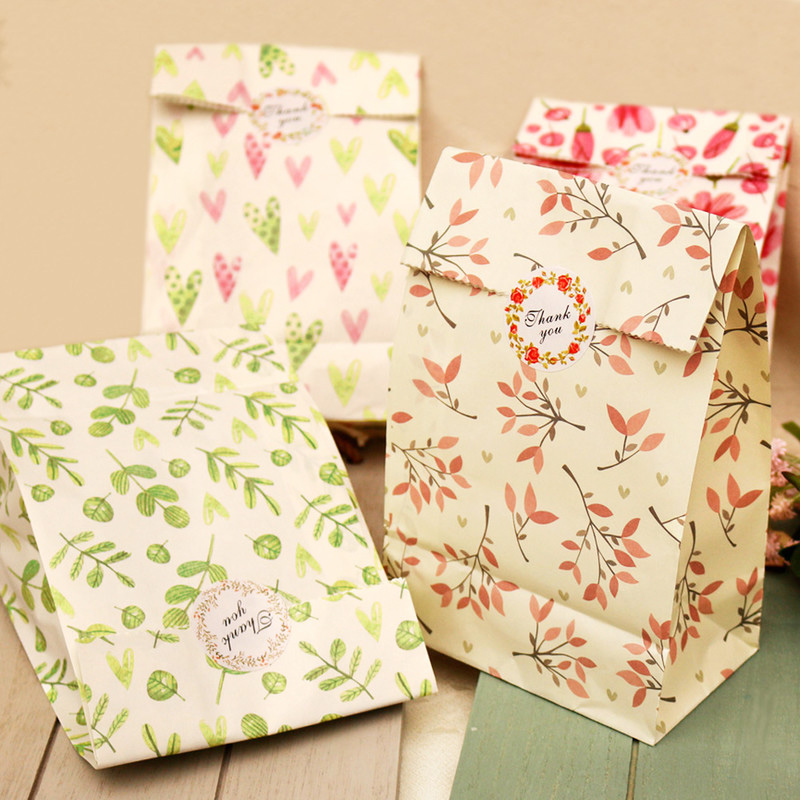 12pcs Flowers Paper Gift Bags With Thank You Paper Sticker Craft Gift Candy Packing Paper Bags Wedding Birthday Party Decoration