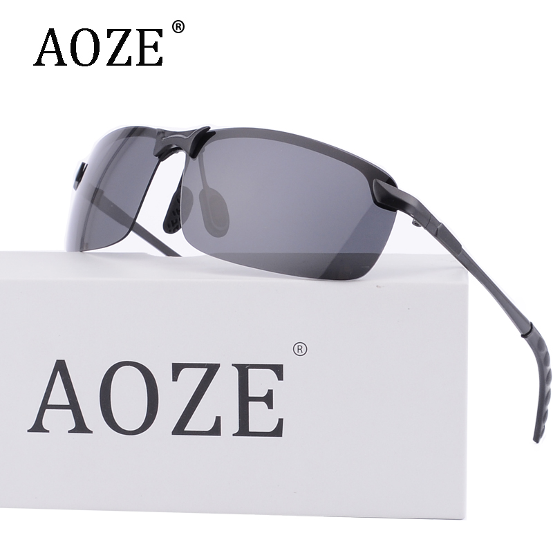 Hot sale AOZE Luxury Goggles Polarized Men/women Brand sport Driving Sunglasses Classic alloys UV400 Rimless eyeglasses Oculos