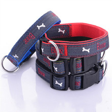 New Cowboy bone embroidery pet dog collar jean bones dog collars Wear adjustable for Small medium and large dogs size S M L XL maggie carpenter cowboy s rules