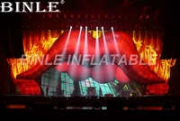 Artistic red giant inflatable lip arch with led lights huge stage backdrop for Valentine wedding Party Decorations