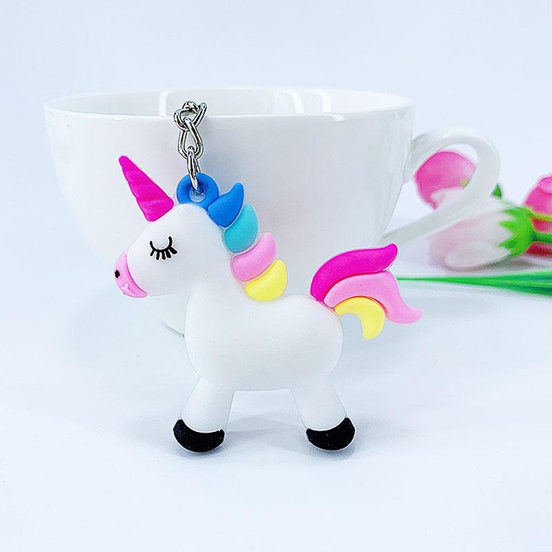 New Cartoon PVC Soft Glue Material Unicorn Key Buckle Pendant Girl Bag Car Key Pendant Children's Toys Small Gifts