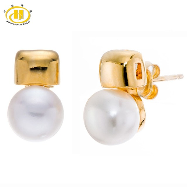Hutang Freshwater Pearl Soild 925 Sterling Silver Stud Earrings Women's Fine Jewelry Wedding (9-9.5mm)