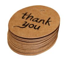 100pcs/lot Kraft Paper Tag Thank You for Candy Gift Box decoracion vintage wedding supplies wedding gifts for guests(China)