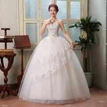 Fansmile хрустальные бусины свадебные бальные платья на шнуровке Свадебные платья подгонянного размера плюс винтажный халат de Mariee