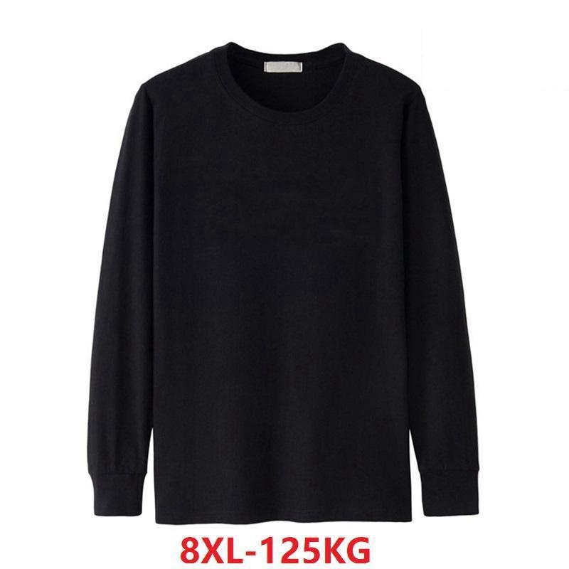 <font><b>Men's</b></font> <font><b>Shirt</b></font> Long Sleeve Winter Fall Large Size Large Size 5XL <font><b>6XL</b></font> Casual <font><b>T</b></font>-<font><b>Shirt</b></font> Cotton 7XL 8XL Home <font><b>T</b></font>-<font><b>Shirt</b></font> Green Blue Black image
