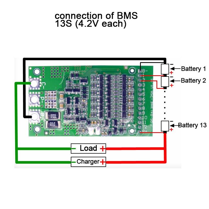 BMS 6 S 7 S 8 s 9 s 10 s 11 s 12 S 13 S 3,6 V 4,2 V 25A ajustable BMS de iones de litio 18650 sistema de protección de la batería de la Junta módulo PCB PCM