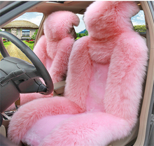 2X Pure Natural Fur Seat Cover Pink colour Sheepskin Winter Car Cushion Front Vehicle