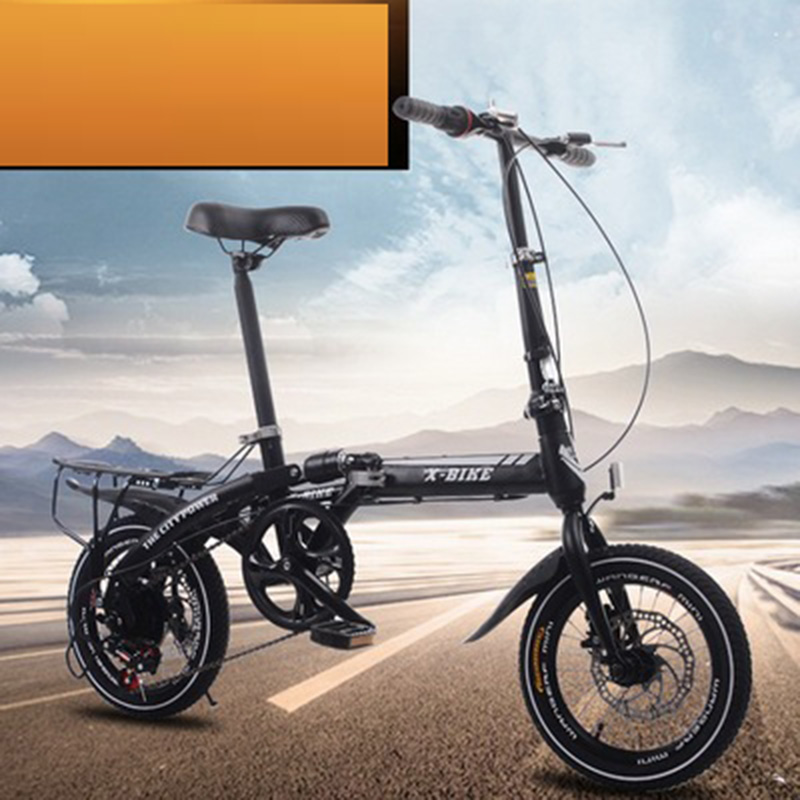 Adult Folding Bicycle Speed Change Two-Disc Brake 14-Inch Folding Car Small Portable Student Leisure Bicycle