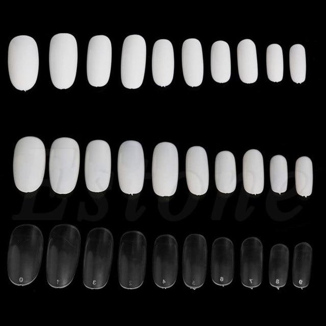 500 piezas ovaladas redondo acrílico francés falso uñas puntas blanco Natural claro