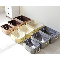 3Pcs/Set Large Linen Storage Basketes Home Metal Laundry Basket Box Kids Sundries Storage Basket For Toys Small Makeup Boxes Bag