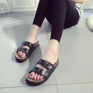 Image 5 - RASMEUP Leather Womens Slippers 2018 Summer Soft Cork Buckle Flip Flops Women Beach Slides Casual White Woman FlipFlops Shoes