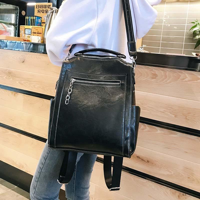 Image 3 - Women Backpack Leather School Bags For Teenage Girls Casual Large  Capacity Multifunction Vintage Black Shoulder Bags 2020  XA158HBackpacks