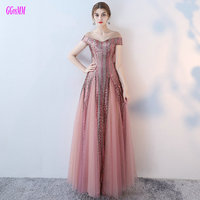 Unique Hot Pink Evening Dresses Long 2017 Sexy Lady Party Evening Gowns V Neck Tulle Lace