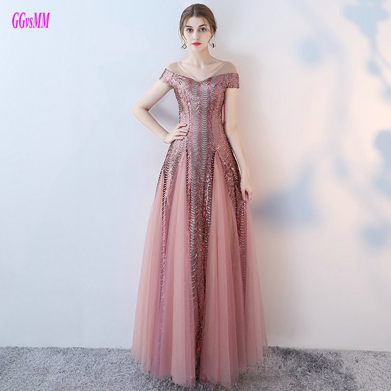 Unique Hot Pink Evening Dresses Long 2018 Sexy Lady Party Evening Gowns V Neck Tulle Lace