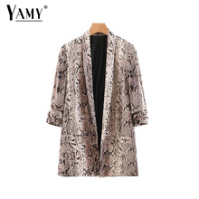 Animal snake print women blazers and jackets korean blazer feminino mujer pockets outerwear female casual tops cheap NONE NYLON Polyester spandex COTTON LC120110 Three Quarter YAMY Streetwear Notched REGULAR snake print blazer