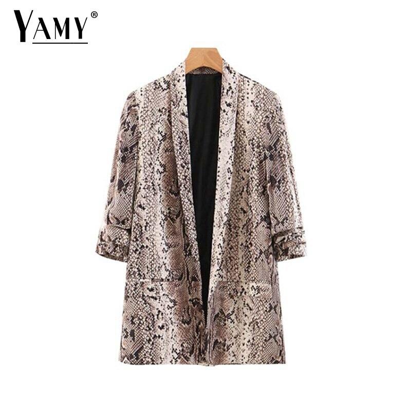 Animal Snake Print Women Blazers And Jackets Korean Blazer Feminino Mujer Pockets Outerwear Female Casual Tops