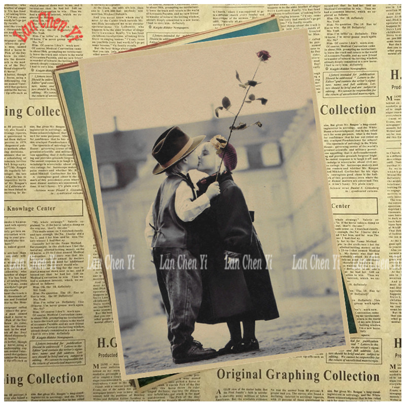 The first kiss Classic Nostalgic Matte Kraft Paper Poster Office Gift Room Dining Home Decor wall sticker Design