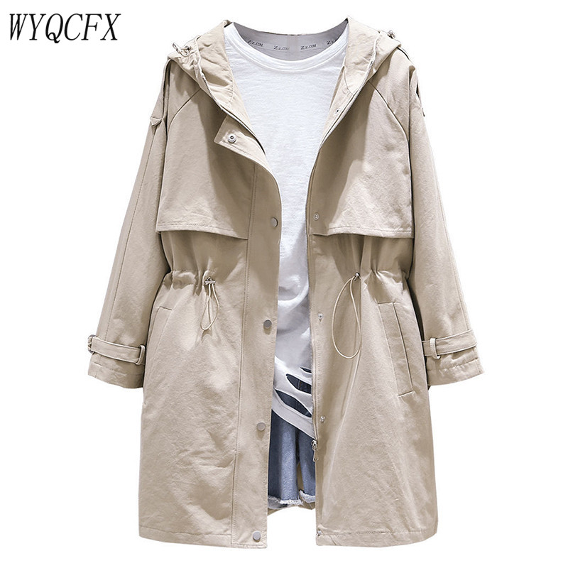 Spring Autumn   Trench   Coat Women Casual Adjustable Waist Outwear 2019 Female Korean Fashion Hooded Windbreaker Plus Size 3XL