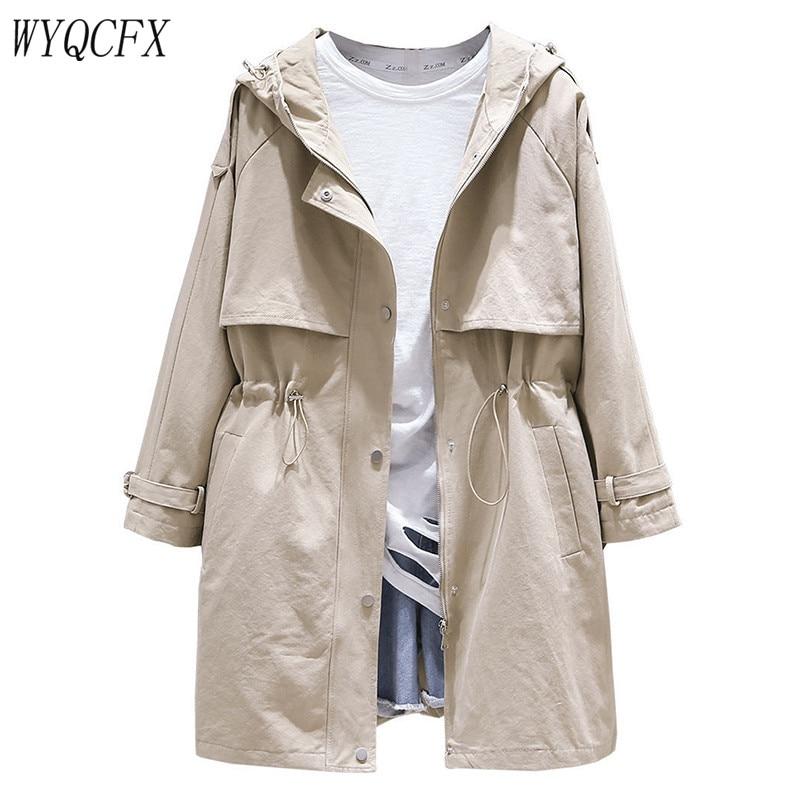 Spring Autumn   Trench   Coat Women Casual Adjustable Waist Outwear 2019 Female Korean Fashion Hooded Windbreaker Plus Size 3XL