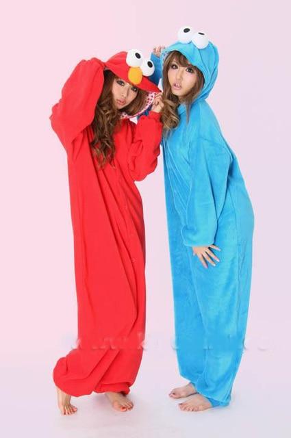 9dd1733f943b Sesame Street Elmo Cookie Monster Onesie Hooded Animal Pajamas adults  Cosplay Anime Costumes Kigurumi One Piece Fleece Pajama