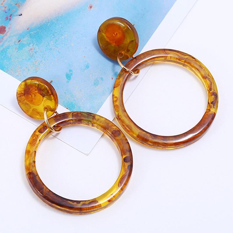 Sale Resin New Geometric Round Gifts Women Girls Drop Earring Leopard Big Circle Fashion Jewelry Acrylic