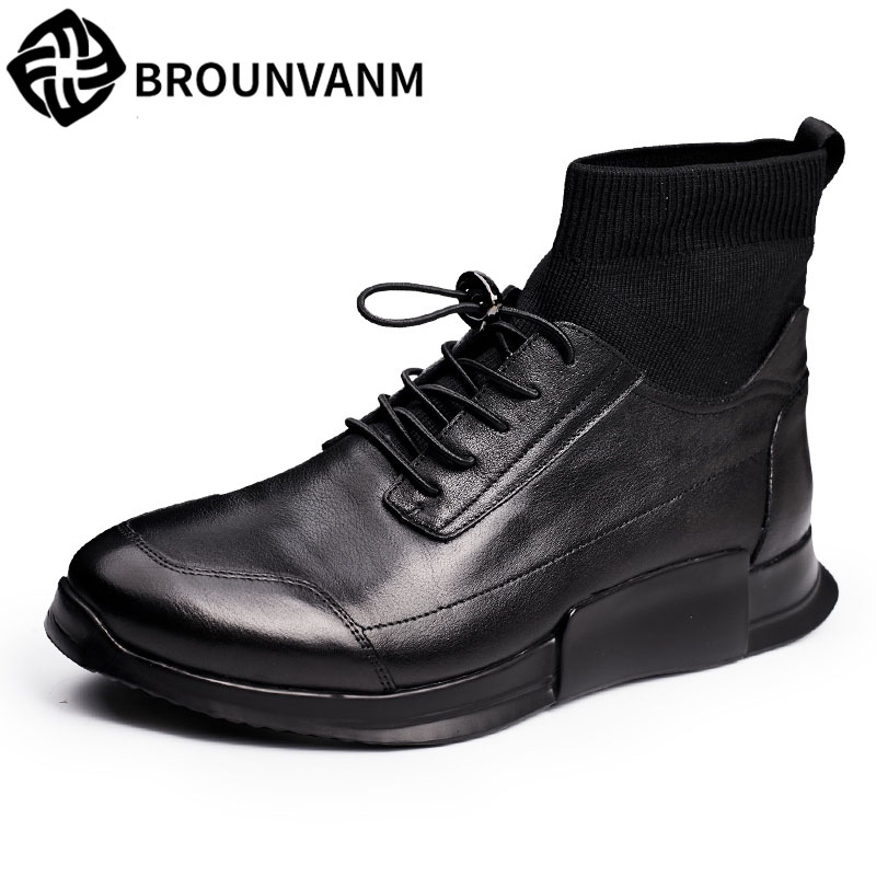 Men's shoes and leather shoes high shoes leather shoes leisure fashion socks for short boots 2017 new men's winter boots men boo new high end leather shoes and women s short boots leather boots